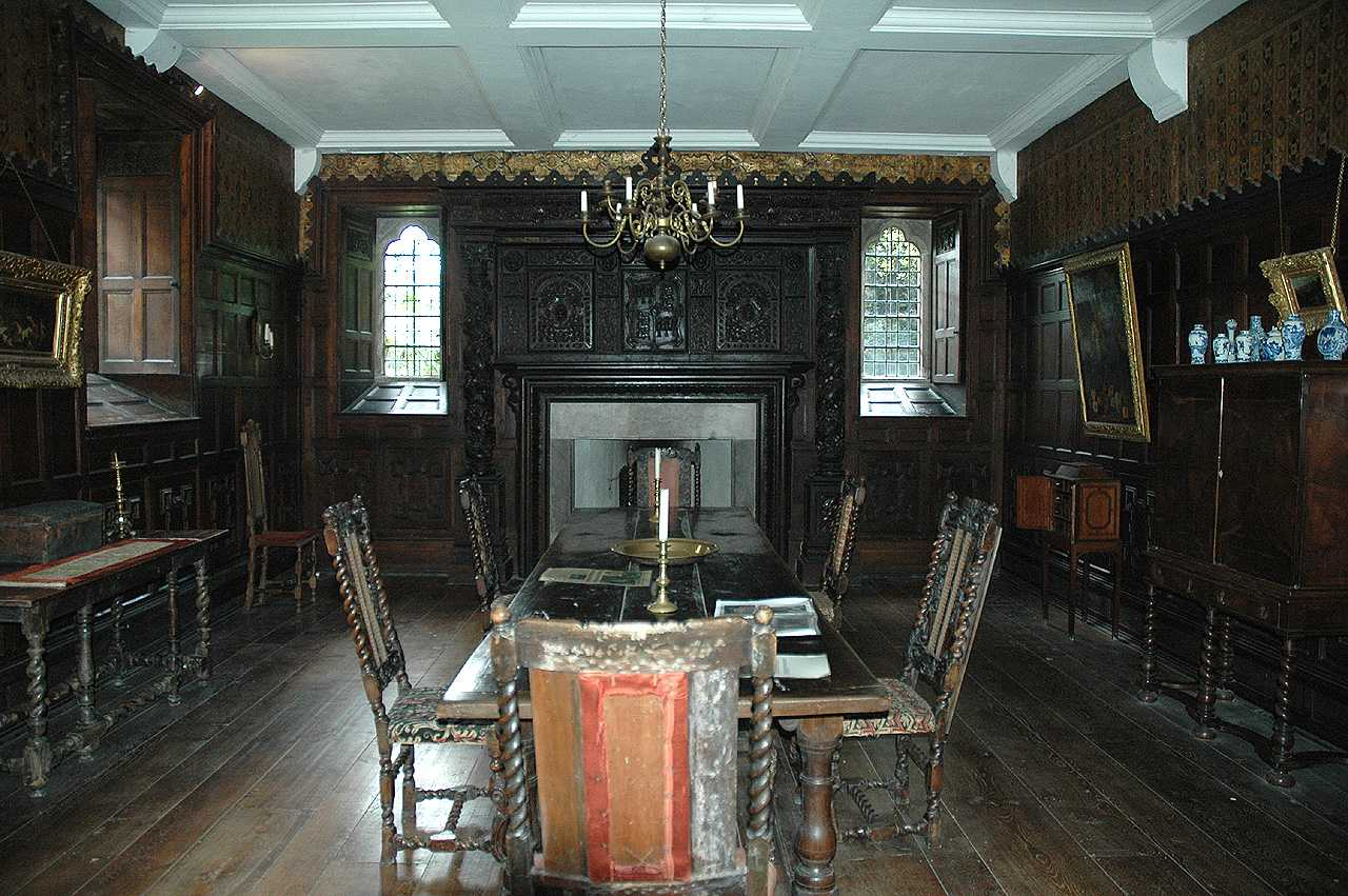 Llanrwst, Gwydir Castle, Dining Room, from the Door